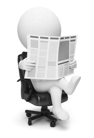 3d small people reading the newspaper sitting in a working armchair. 3d image. Isolated white background. photo