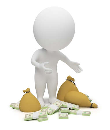 3d small people - packs of dollars and bags with money. 3d image. Isolated white background.