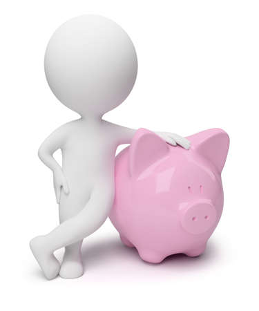 3d small people with a coin box in the form of a pig. 3d image. Isolated white background. Stock Photo - 6720534