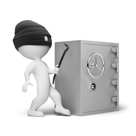 robber: 3d small people - thief in a mask with a crowbar in the hands, trying to crack the safe. 3d image. Isolated white background. Stock Photo