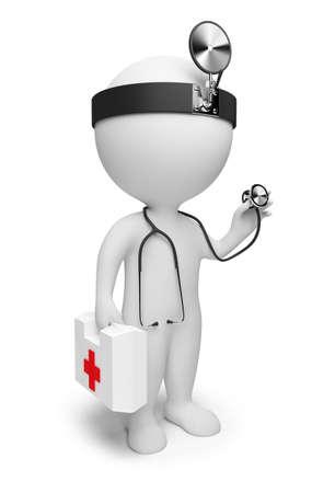 firstaid: 3D personas peque�as el m�dico con un estetoscopio y los primeros auxilios se establezca en manos. imagen 3D. Fondo blanco aislado.