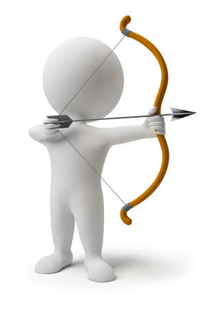 3D personas pequeñas se preparan para disparando una flecha. imagen 3D. Fondo blanco aislado. Foto de archivo