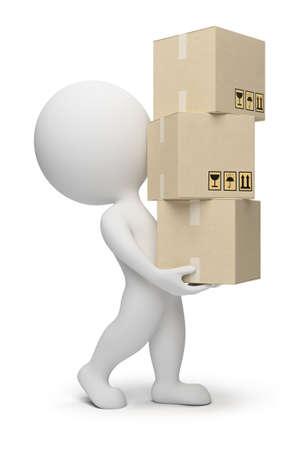 cardboard: 3D petites personnes transportant des bo�tes en carton. image 3D. Fond blanc isol�e.