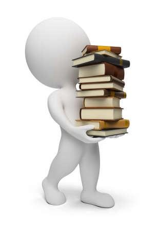 3d small people carrying books. 3d image. Isolated white background. photo