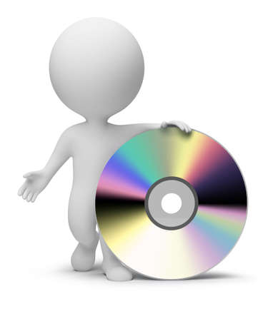 3d small people with a CD. 3d image. Isolated white background. Stock Photo - 6794162