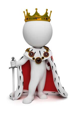 왕: 3d small people the king with a sword. 3d image. Isolated white background.