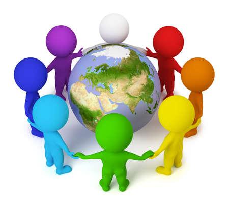 planeta tierra feliz: 3D personas peque�as se uni� a manos alrededor de la tierra. imagen 3D. Fondo blanco aislado.  Foto de archivo