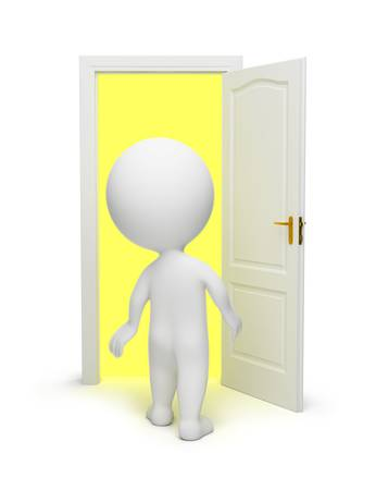 3d small people opened a door in other dimension. 3d image. Isolated white background. photo