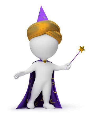 3 d の小さな人 - 手の魔法の杖でウィザード。3 d イメージ。孤立した白い背景。