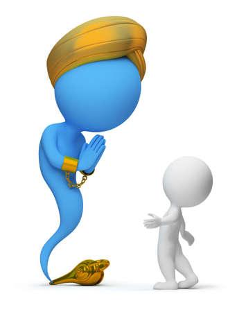 lampe magique: 3D petit peuple et les Djinns semblaient une lampe magique. image 3D. Fond blanc isol�e. Banque d'images