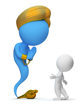 3d small people and the jinn appeared from a magic lamp. 3d image. Isolated white background. photo