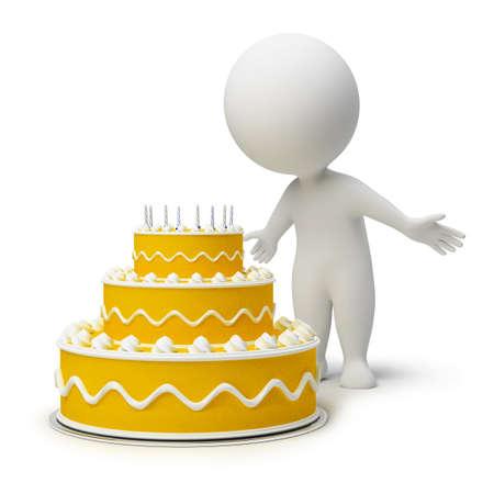 the 3d: la gente peque�a 3D y un pastel de cumplea�os. imagen 3D. Fondo blanco aislado.