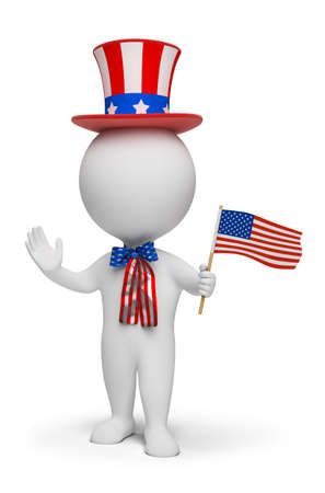 3d small people - Independence Day. 3d image. Isolated white background. photo