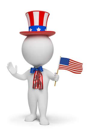 independencia: gente peque�a 3D - d�a de la independencia. imagen 3D. Fondo blanco aislado.