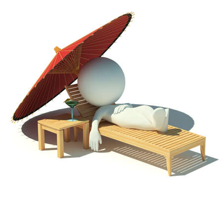 3d small people having a rest under an parasol on a chaise lounge. 3d image. Isolated white background. photo