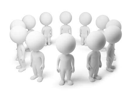 people isolated: 3d small people - standing around. 3d image. Isolated white background. Stock Photo