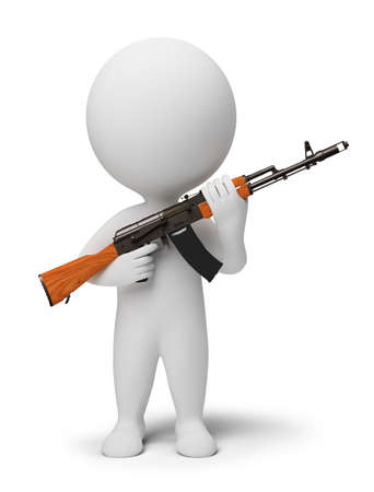 terrorists: 3d small people - soldier with the weapon. 3d image. Isolated white background.