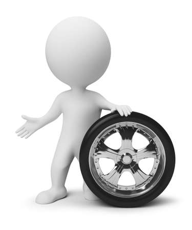 traction: 3d small people with a wheel. 3d image. Isolated white background.