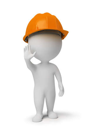3d small people - worker in a helmet at a stop pose. 3d image. Isolated white background. photo