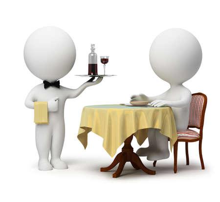 meseros: gente peque�a 3D - cliente sentado en una mesa y el camarero con una bandeja. imagen 3D. Fondo blanco aislado.  Foto de archivo