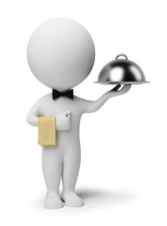 camarero: gente peque�a 3D - camarero con plato de comida. imagen 3D. Fondo blanco aislado.