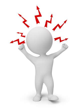 3D kleine Leute - Blitze über einen Kopf zornig. 3D Abbild. Isolated white Background. Standard-Bild