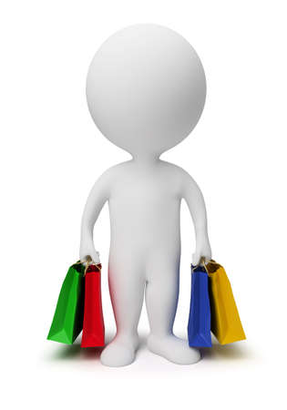 3d small people carry shopping bags. 3d image. Isolated white background. Stock Photo - 7026902