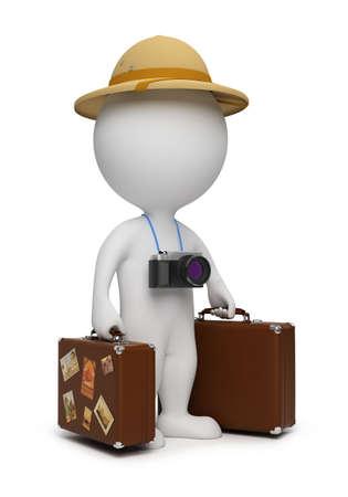 3D małych osób - turystyczna z walizki, aparat. obraz 3D. Izolowane białym tłem.