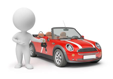 small car: 3d small people - with car keys. 3d image. Isolated white background.