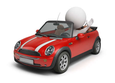 3d small people driving the small car. 3d image. Isolated white background. Stock Photo - 7054704