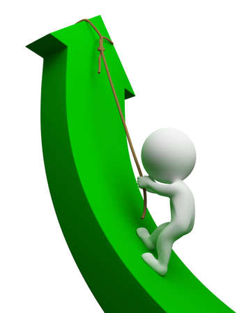 3d small people climbing up an arrow . 3d image. Isolated white background. photo