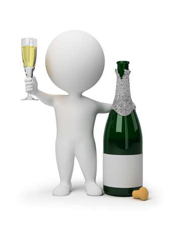 coupe de champagne: petit peuple 3D avec une bouteille de champagne et un verre de vin. image tridimensionnelle. Fond blanc isol�e.