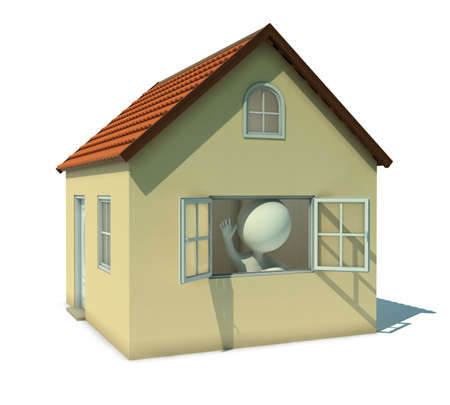 succes: 3d small people welcoming from a house window. 3d image. Isolated white background.