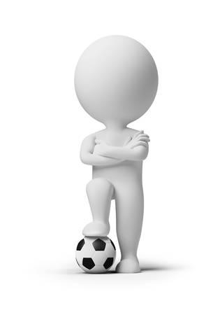 goal keeper: 3D kleine mensen - voet bal speler met een bal. 3D beeld. Geïsoleerde witte achtergrond.