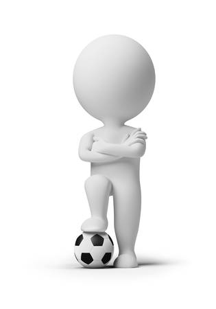 foot gear: 3d small people - soccer player with a ball. 3d image. Isolated white background.