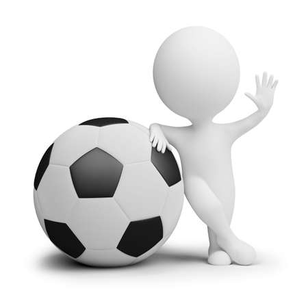 3d small people - soccer player with the big ball in a welcoming pose. 3d image. Isolated white background. photo