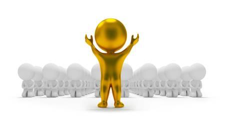 idool: 3D kleine mensen naar een gouden afgods beeld te aanbidden. 3D beeld. Geïsoleerde witte achtergrond.  Stockfoto