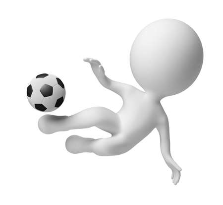 3d small people - soccer player striking in a jump on a ball . 3d image. Isolated white background. Stock Photo - 7246662