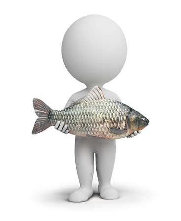 手で魚を持つ 3 d 小さな人々。3 d イメージ。孤立した白い背景。 写真素材