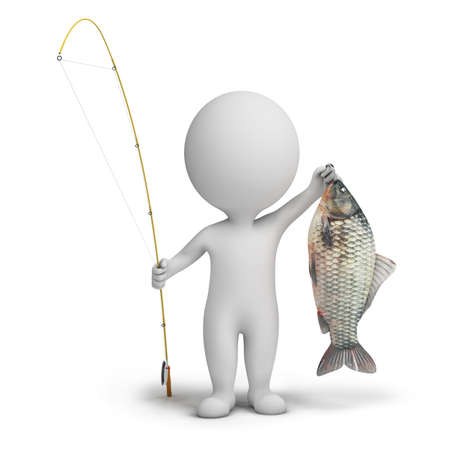 fishing tackle: 3d small people - fisherman with a fishing tackle and fish. 3d image. Isolated white background. Stock Photo