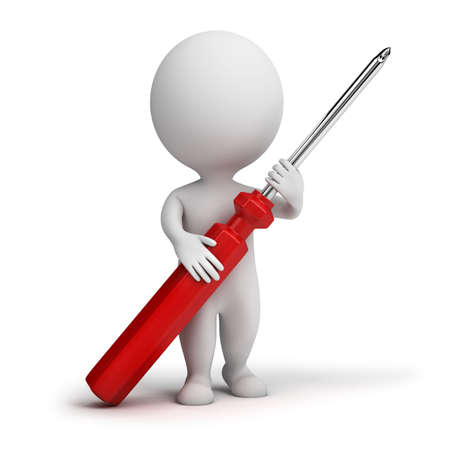 screwdriver: 3d small people with a screw-driver in hands. 3d image. Isolated white background. Stock Photo