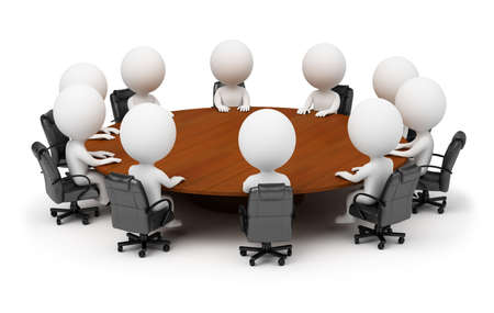 3d small people - session behind a round table. 3d image. Isolated white background. photo