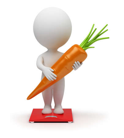 idioms: 3d small people standing on scales with carrots in hands . 3d image. Isolated white background.