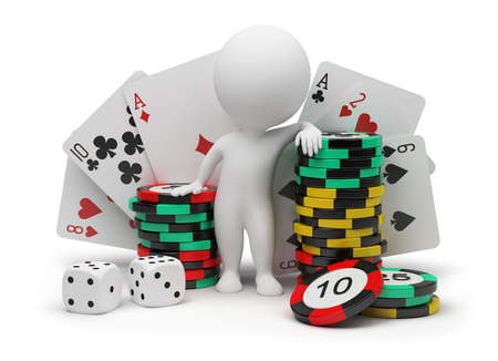 3d small people with counters for a roulette, playing cards and bones. 3d image. Isolated white background. photo