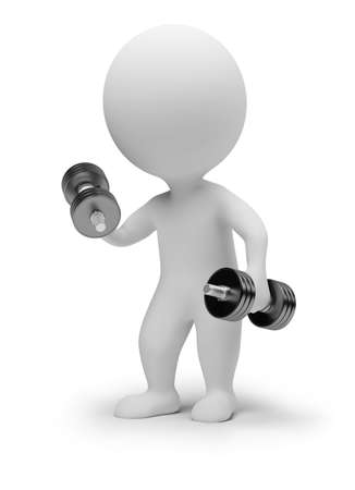 3d small people with dumbbells. 3d image. Isolated white background. Stock Photo - 7592471