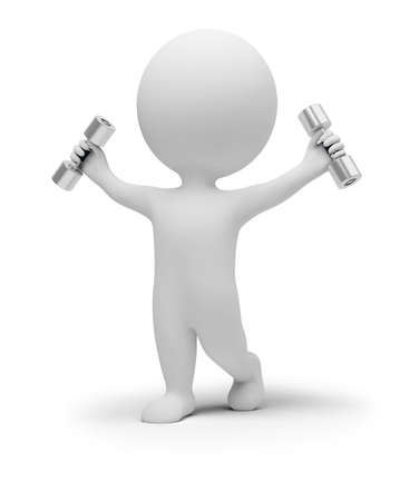3d small people does gymnastics with dumbbells. 3d image. Isolated white background. Stock Photo - 7592470