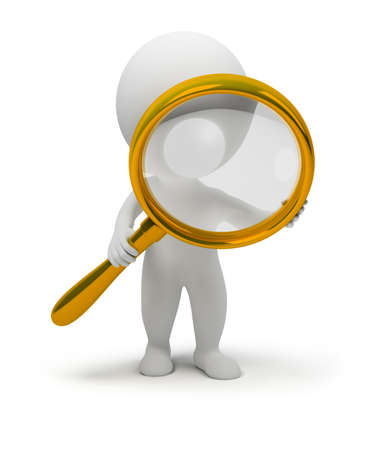investiga��o: 3d small people with a magnifier in hands. 3d image. Isolated white background. Banco de Imagens
