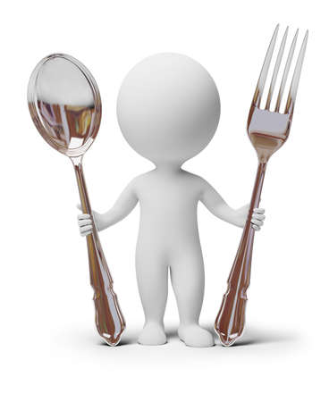 3d small people: 3d small people with a spoon and a fork. 3d image. Isolated white background.