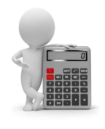 calculadora: gente peque�a 3D con la calculadora. imagen 3D. Fondo blanco aislado.