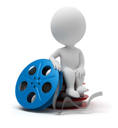 3d small people sitting on film reel. 3d image. Isolated white background. Stock Photo - 7801889
